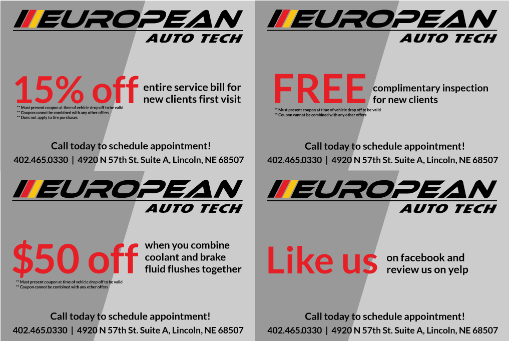 15% off entire repair service bill for first visit, free mount & balance with purchase of 4 tires($100 value), $50 off when you combine coolant and brake fluid flushes together, free complimentary inspection for new clients